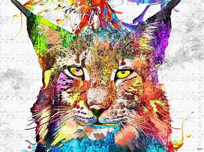 Bobcats Mixed Media - Bobcat Grunge by Daniel Janda