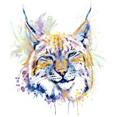 Bobcats Mixed Media - Bobcat Head by Marian Voicu