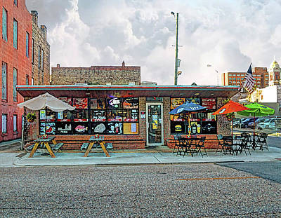 Digital Art - Bobs Downtown Diner Front Door by Michael Thomas