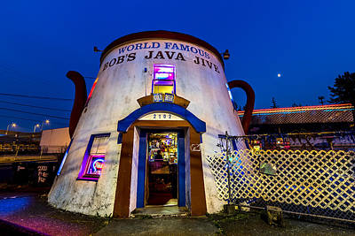 Bob's Java Jive - Historic Landmark During Blue Hour Art Print