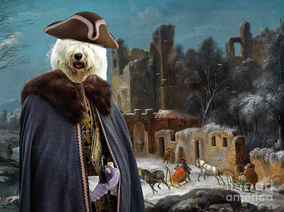 Painting - Bobtail - Old English Sheepdog Art Canvas Print - A Winter Landscape With Travellers by Sandra Sij