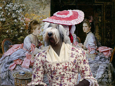 Painting - Bobtail - Old English Sheepdog Art Canvas Print - Hearts Are Trumps by Sandra Sij