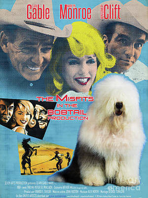 Painting - Bobtail -  Old English Sheepdog Art Canvas Print - The Misfits Movie Poster by Sandra Sij