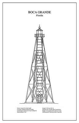 Florida House Digital Art - Boca Grande Lighthouse - Florida - Blueprint Drawing by Jose Elias - Sofia Pereira