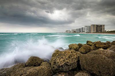 Boca Raton Florida Stormy Weather - Beach Waves Art Print