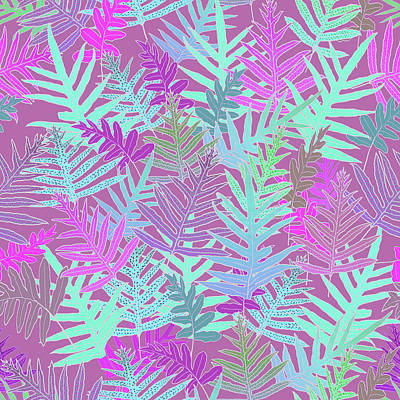 Digital Art - Bodacious Ferns Mint by Karen Dyson