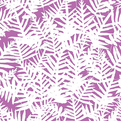 Digital Art - Bodacious Ferns White by Karen Dyson