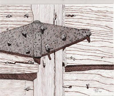 Sepia Ink Drawing - Bodega Hinge by Pat Price