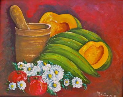 Jibaros Painting - Bodegon-calabaz by Mayra  Martinez