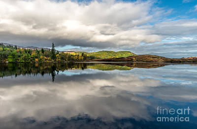 Lakes Digital Art - Bodgynydd Lake Reflections by Adrian Evans