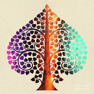 Bodhi Tree Digital Art - Bodhi Tree2_water Color01-1 by Bobbi Freelance