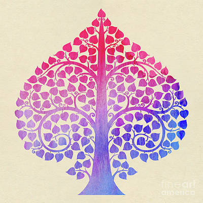Bodhi Tree Digital Art - Bodhi Tree2_water Color01-2 by Bobbi Freelance