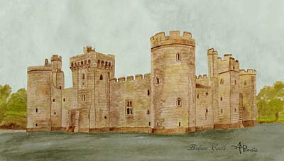 Knights Castle Painting - Bodiam Castle by Angeles M Pomata