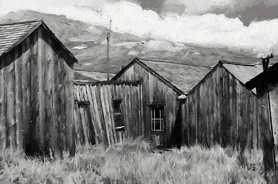 Photograph - Bodie Buildings Bw Painterly by Mary Bedy