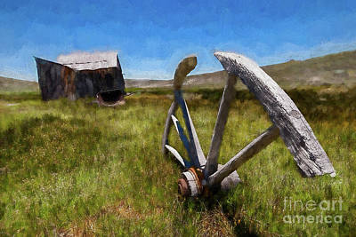 Painting - Bodie California Ghost Town Buried Wagon Wheel Ap by Dan Carmichael