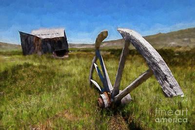 Painting - Bodie California Ghost Town Buried Wagon Wheel Ap by Dan Carmichael