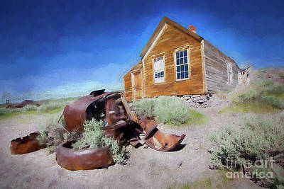 Painting - Bodie California Ghost Town Old House Older Car Ap by Dan Carmichael