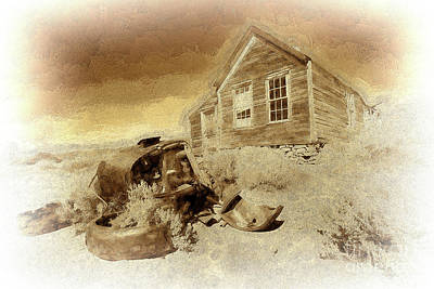 Photograph - Bodie California Ghost Town Old House Older Car Bw by Dan Carmichael