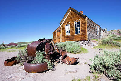 Photograph - Bodie California Ghost Town Old House Older Car by Dan Carmichael