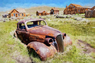 Painting - Bodie California Ghost Town Old Rusty Vintage Car Ap by Dan Carmichael