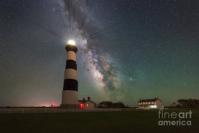 Photograph - Bodie Island Light At Night  by Michael Ver Sprill