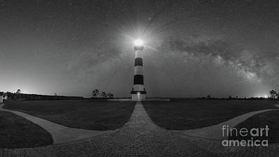Photograph - Bodie Island Light Milky Way Pano Bw by Michael Ver Sprill