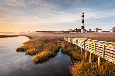 Bodie Island Lighthouse Autumn Coastal Marsh Art Print by Mark VanDyke