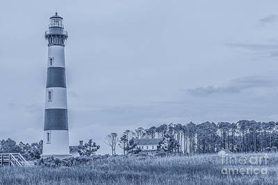Lighthouse Digital Art - Bodie Island Lighthouse In Blue by Randy Steele