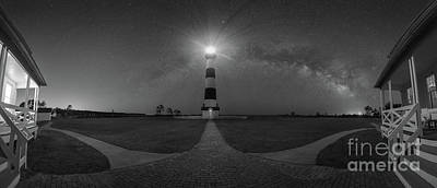 Photograph - Bodie Island Lighthouse Milky Way Pano Bw by Michael Ver Sprill