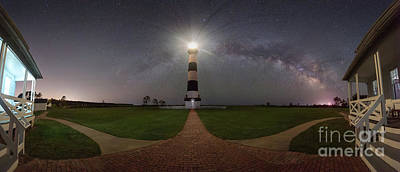 Photograph - Bodie Island Lighthouse Milky Way Pano by Michael Ver Sprill