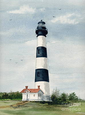 Art Print featuring the painting Bodie Island Lighthouse by Nancy Patterson
