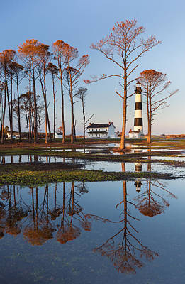 Bodie Island Lighthouse Obx Golden Sunset Reflections Art Print by Mark VanDyke