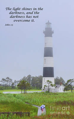 Christian Artwork Digital Art - Bodie Island Lighthouse Scripture Verse by Randy Steele