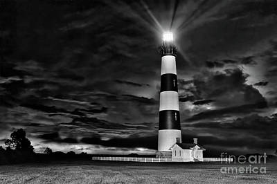Photograph - Bodie Lighthouse In A Thunderstorm Bw by Dan Carmichael