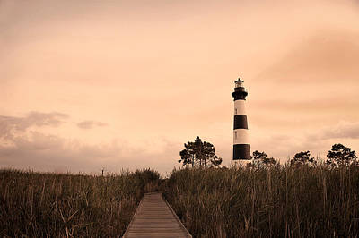 Black And White Horse Photography - Bodie Lighthouse Sunset by Kelley Nelson