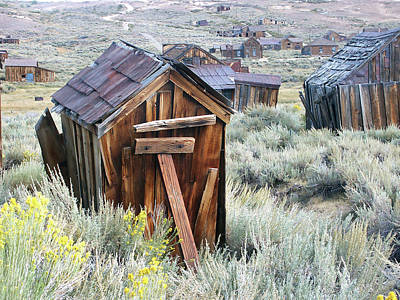 Photograph - Bodie Outhouse Watercolor by Art Block Collections