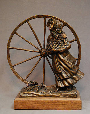 Atlas Bronze Casting Sculpture - Bodil Mortensen Bronze Sculpture Of Pioneer Girl By Stan Watts by Stan Watts