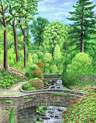 Wales Painting - Bodnant Old Mill Bridge - Wales by Ronald Haber