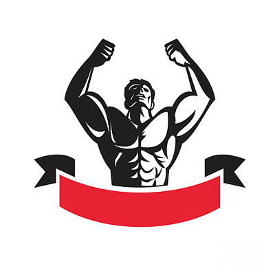 Muscular Digital Art - Body Builder Flexing Muscles Banner Retro by Aloysius Patrimonio