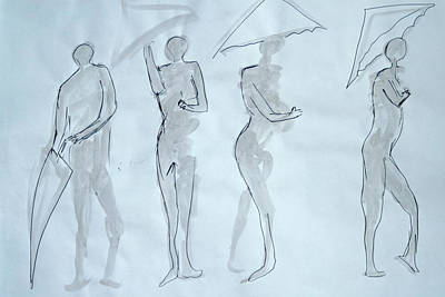 Ink Art Drawing - Body Sketches With Umbrella by M Valeriano