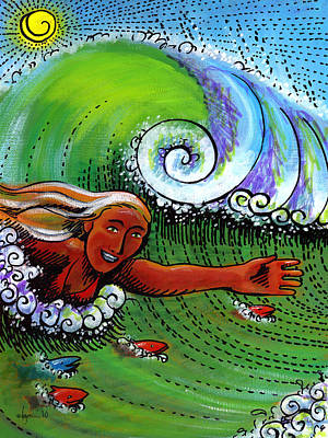 Painting - Body Surfing With My Buddies by Angela Treat Lyon