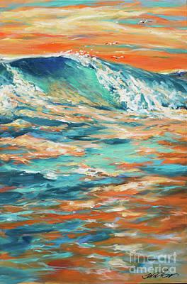 Bodysurfing At Sunset Art Print by Linda Olsen