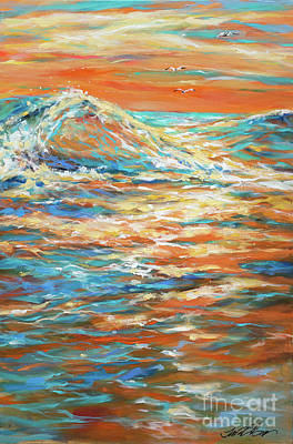 Painting - Bodysurfing Sunset by Linda Olsen