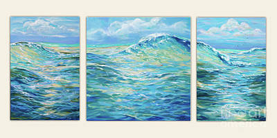 Painting - Bodysurfing Tryptic by Linda Olsen