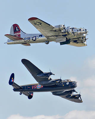 Photograph - Boeing B-17g Flying Fortress And Avro Lancaster by Alan Toepfer