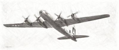 Digital Art - Boeing B-29a Superfortress Drawing by Douglas Castleman