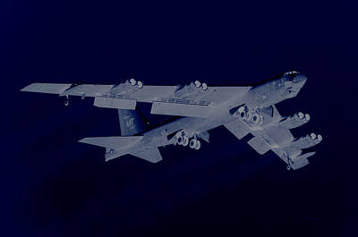 B-52 Mixed Media - Boeing B-52 Stratofortress Off On A Dangerous Night Mission by L Brown