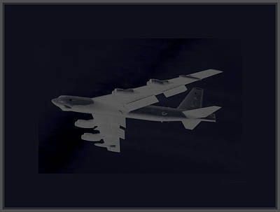 B-52 Mixed Media - Boeing B-52 Stratofortress Taking Off On A Dangerous Night Mission Tinker Afb 3 Borders by L Brown