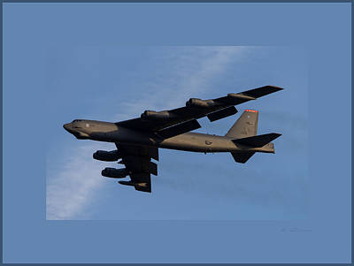 Boeing B-52 Stratofortress Taking Off From Tinker Air Force Base Oklahoma With Double Border Art Print by L Brown
