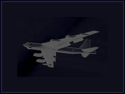 B-52 Mixed Media - Boeing B-52 Stratofortress Taking Off On A Dangerous Night Mission Tinker Afb 3 Contrasting Borders by L Brown
